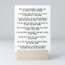 Do It Anyway by Mother Teresa 3 #minimalism #inspirational Mini Art Print
