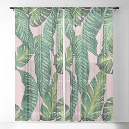 Jungle Leaves, Banana, Monstera II Pink #society6 Sheer Curtain