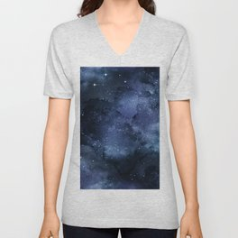Beautiful Navy and Silver Design Patterns Unisex V-Neck