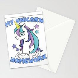 Cute crazy Unicorn - School Homework Funny Magic  Stationery Cards