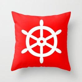 Ship Wheel (White & Red) Throw Pillow