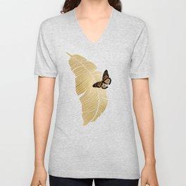 Butterfly & Palm Leaf, Gold Wall Art Unisex V-Neck