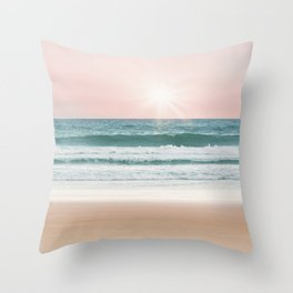 Pastel Beach and Sea Vibes Throw Pillow
