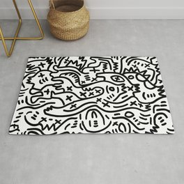 Graffiti Street Art Black and White Rug