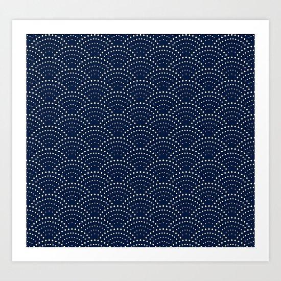 Japanese Blue Wave Seigaiha Indigo Super Moon Pattern by surfacemaximus