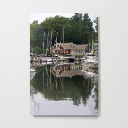 Sleepy harbor and it's reflection Metal Print