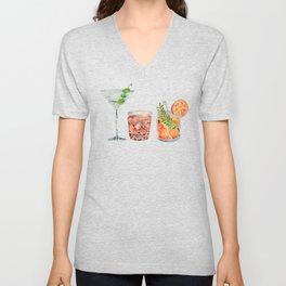 Classic Cocktails  – 1960s Watercolor Lineup Unisex V-Neck