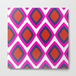 Retro rhombus - bright pink Metal Print
