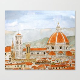 Italy Florence Cathedral Duomo watercolor painting Canvas Print
