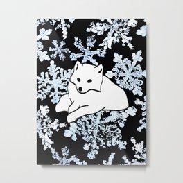 Foxes & Flakes Metal Print