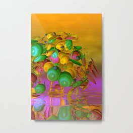 fancy tree and orange sky Metal Print