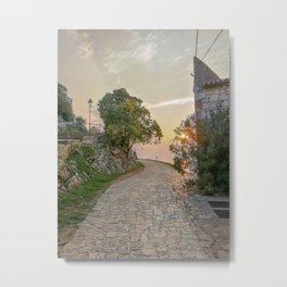 Little alley in the medieval center of the village Rovinji at sunset Metal Print