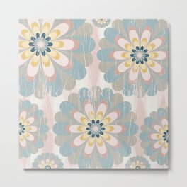 Distressed Floral Pattern in Muted Blush Pink Teal Yellow Metal Print