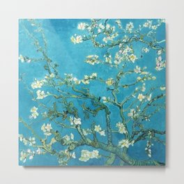 Vincent van Gogh Blossoming Almond Tree (Almond Blossoms) Light Blue Metal Print