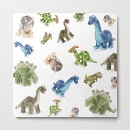 Dinosaur Blue Gree Brown Pattern Metal Print