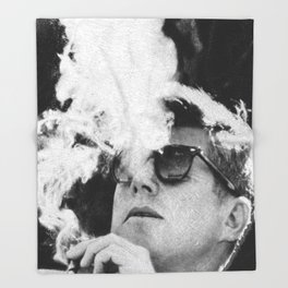 JFK Cigar and Sunglasses Cool President Photo Photo paper poster Throw Blanket