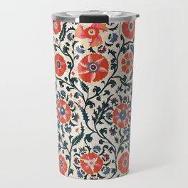 Shakhrisyabz Suzani  Uzbekistan Antique Floral Embroidery Print Travel Mug