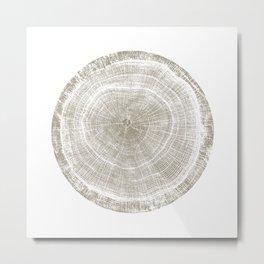 Wood tree rings stamp pattern of oak tree slice Metal Print