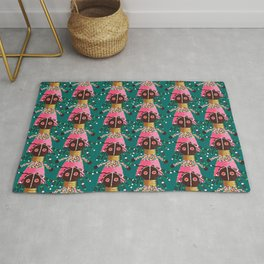 Girly african doll in pink dress Rug