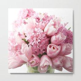 Pretty Pink Tulips Hyacinth Metal Print