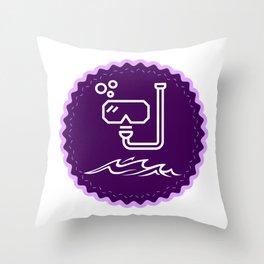 Cool Snorkel Badge Throw Pillow