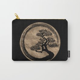 Enso Zen Circle and Bonsai Tree Gold Carry-All Pouch