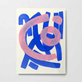 Tribal Pink Blue Fun Colorful Mid Century Modern Abstract Painting Shapes Pattern Metal Print
