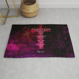 Psalm 61:2 Bible Verse Inspirational & Beautiful Christian Art Rug