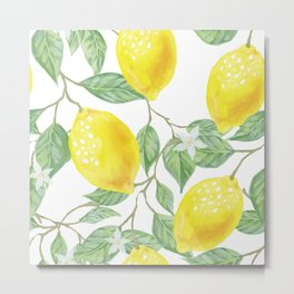 Lemons and Leaves Watercolor Illustration, The Branches Of The Lemon Tree, Watercolor Lemon Tree Metal Print