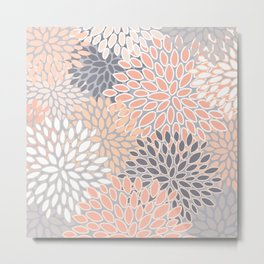 Flowers Abstract Print, Coral, Peach, Gray Metal Print