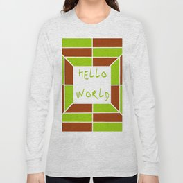 hello world 5 green and brown Long Sleeve T-shirt