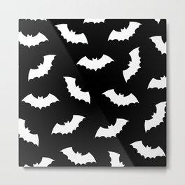 Black & White Bats Pattern Metal Print