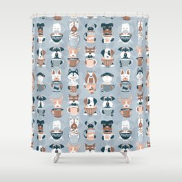 Doggie Coffee and Tea Time I // blue grey Shower Curtain