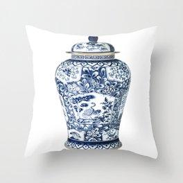 Blue & White Chinoiserie Cranes Porcelain Ginger Jar Throw Pillow