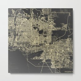 Phoenix map yellow Metal Print