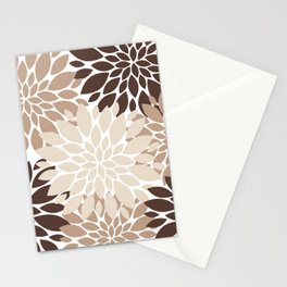 Floral Rosettes in Dark and Light Brown and Beige Stationery Cards