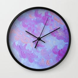 PURPLE PLUMES - Soft Pastel Wispy Lavender Clouds Lilac Plum Periwinkle Abstract Acrylic Painting  Wall Clock