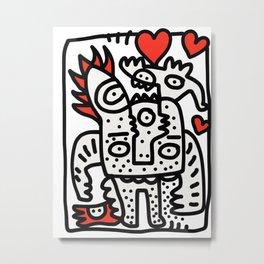 Spread Love Graffiti Art Black and White Red Heart  Metal Print
