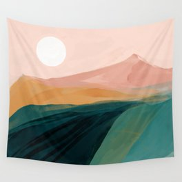 pink, green, gold moon watercolor mountains Wall Tapestry