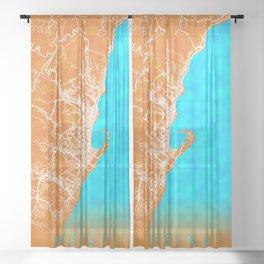 Messina, Italy, Gold, Blue, City, Map Sheer Curtain