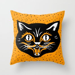 Vintage Type Halloween Black Cat Face Stars Orange Throw Pillow