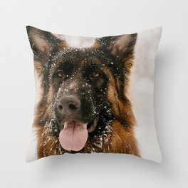My Adorable Snow Dog Throw Pillow
