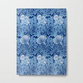 Jacobean Flower Damask, Cobalt and Light Blue Metal Print
