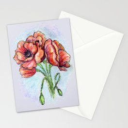 Poppy Flowers Watercolor Stationery Cards