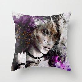Seduction - woman black white pink purple Throw Pillow