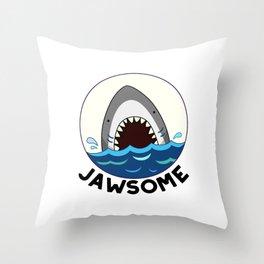 Jawsome Cute Toothy Shark Pun Throw Pillow