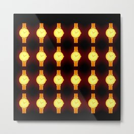Luminous Wristwatches on Black Illustration Metal Print