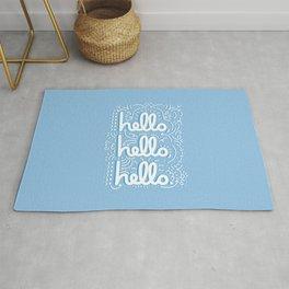 HELLO HELLO HELLO - light blue Rug