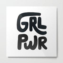 Grl Pwr black and white Metal Print