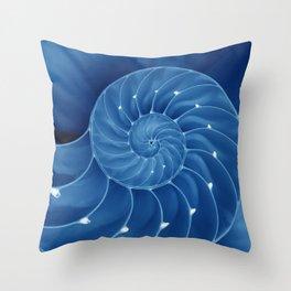 Malibu Blu Mood - Chambered Nautilus Throw Pillow